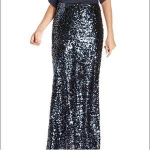Calvin Klein Blue/Black Sequin Holiday Maxi Skirt